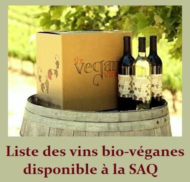 Liste des vins bio-véganes disponible à la SAQ